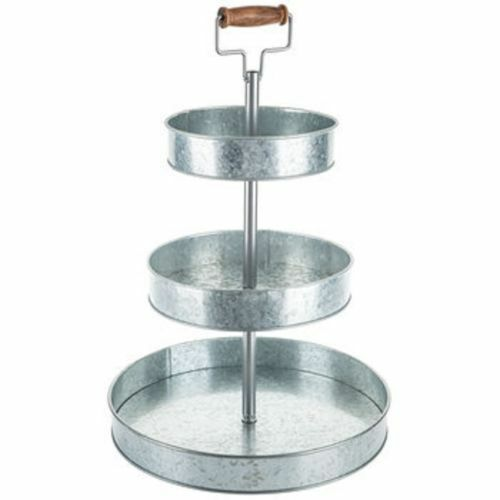 Country Rustic Three Tier Galvanized Metal Stand Tray
