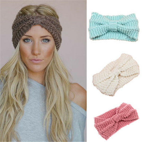 Frauen häkeln Stirnband stricken Bowknot Hairband Ohr wärmer Winter ...