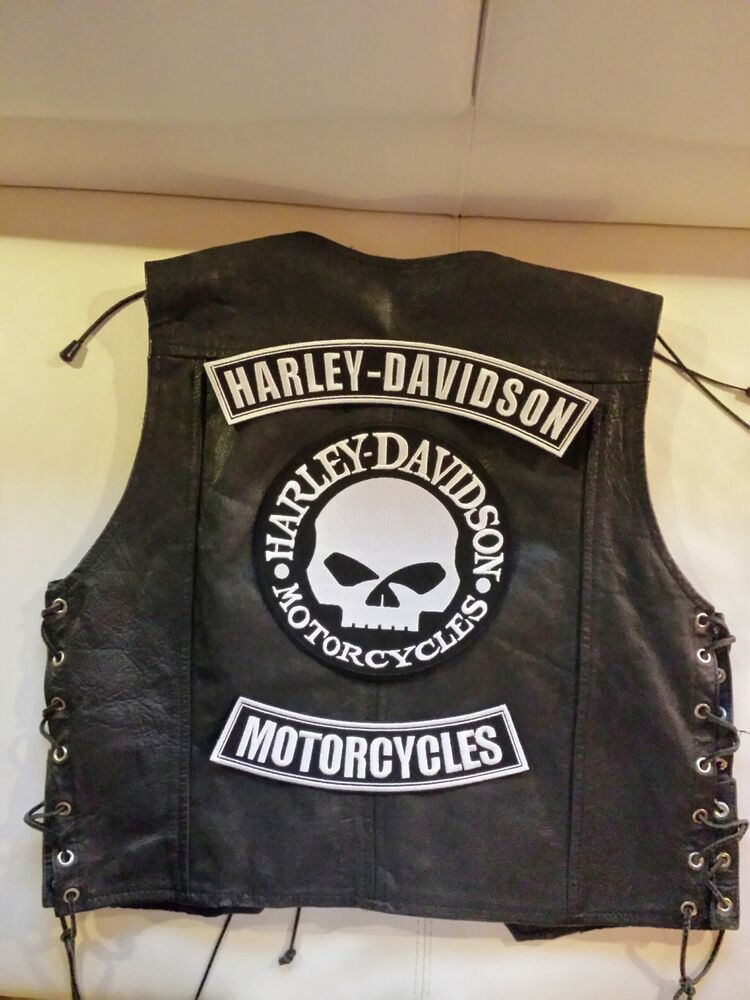 harley davidson back patch set g willis skull biker. Black Bedroom Furniture Sets. Home Design Ideas