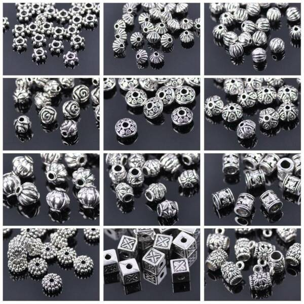 50pcs Tibetan Silver Metal Charms Loose Spacer Beads Wholesale Jewelry Making