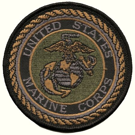 img-US Marine Corps USMC Crest Subdued Embroidered Badge Patch - LAST FEW