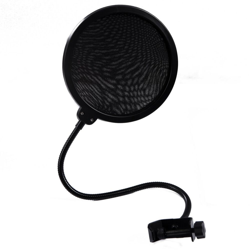 pop filter shield studio microphone w stand clip blue yeti microphones black 700355844747 ebay. Black Bedroom Furniture Sets. Home Design Ideas