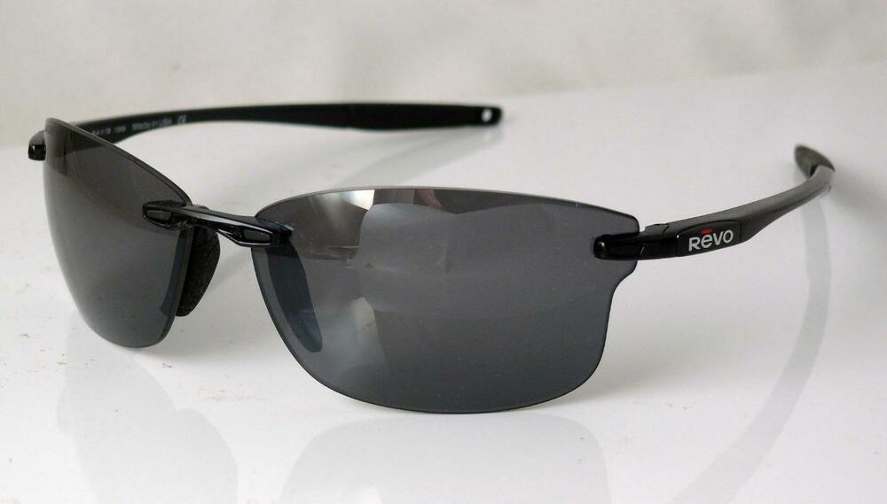 f30c1cacb5f REVO POLARIZED DESCEND S SUNGLASSES POLISHED BLACK GRAPHITE NEW Made in USA  NEW 745016238145