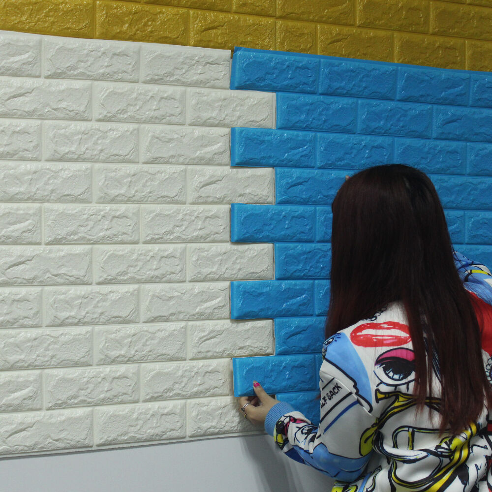 3D……Foam Wall Panels Self adhesive Removable Brick Blue Wallpaper ...
