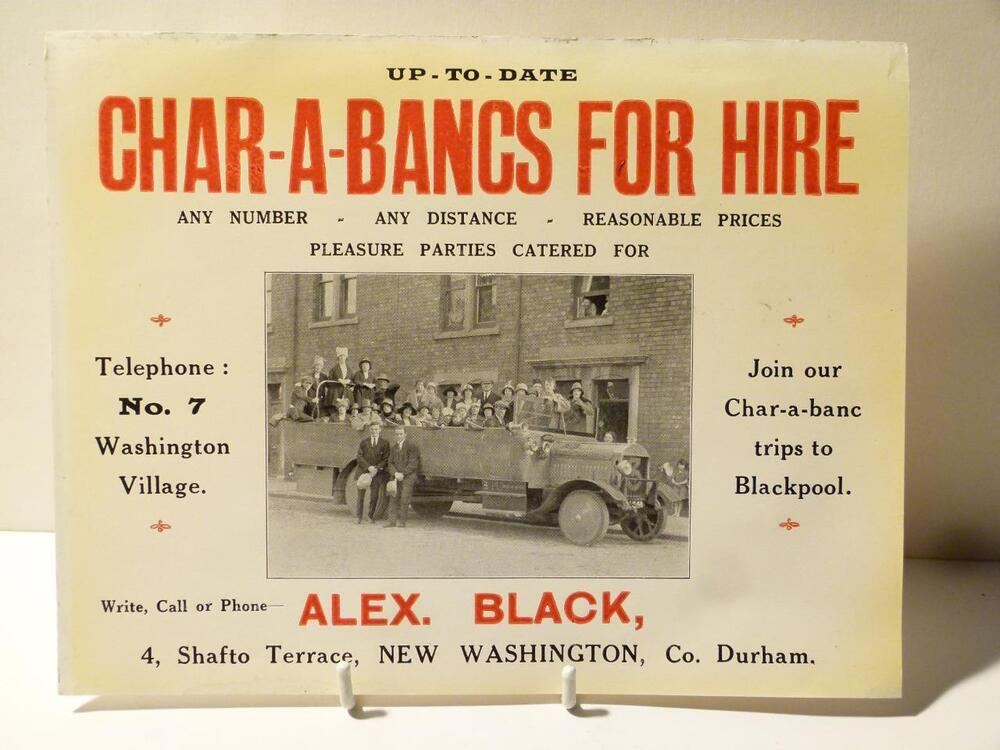 Card Advert Char A Bancs For Hire New Washington Durham Telephone