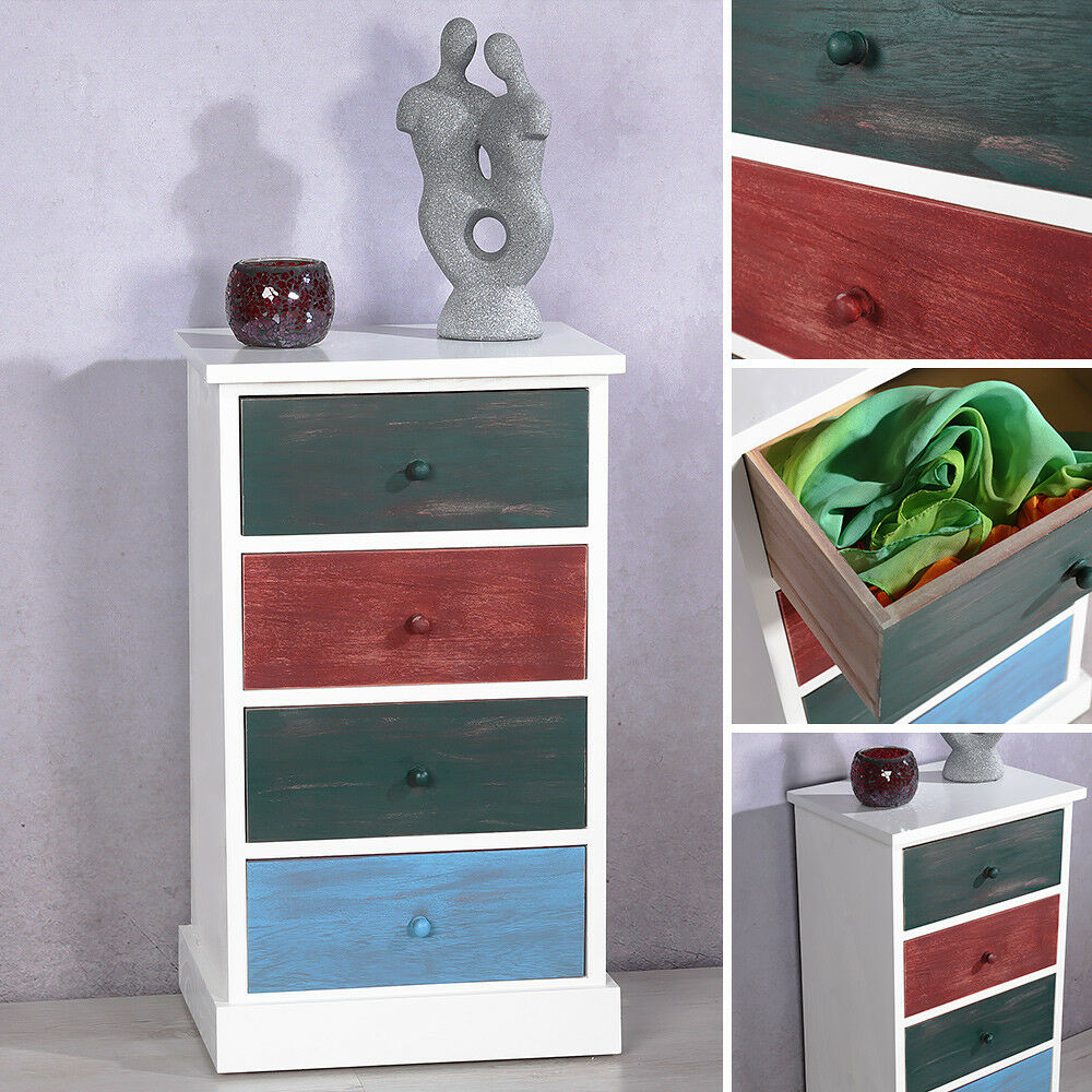 kommode regal mit 4 bunten schubladen patchwork design shabby schrank highboard ebay. Black Bedroom Furniture Sets. Home Design Ideas