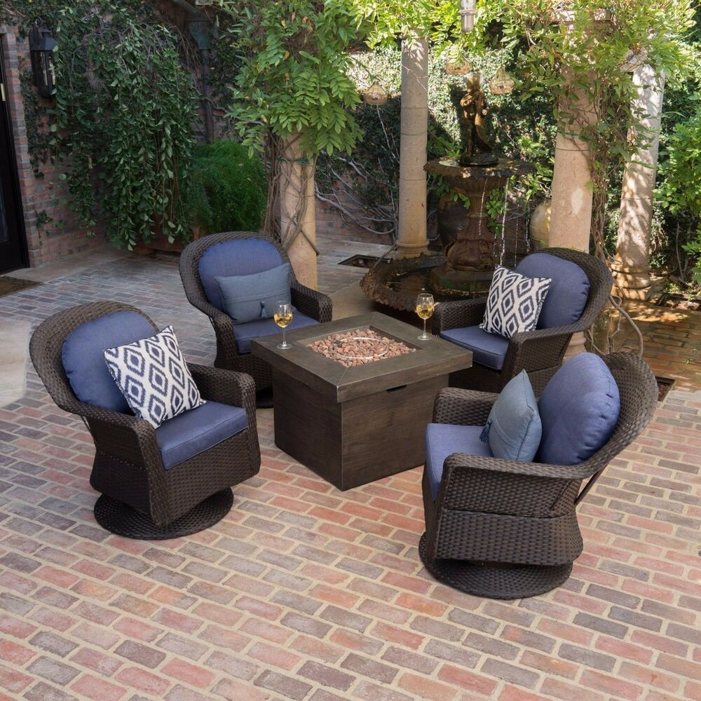 Details About Colorado Outdoor 5 Piece Dark Brown Wicker Chair Fire Pit Chat Set