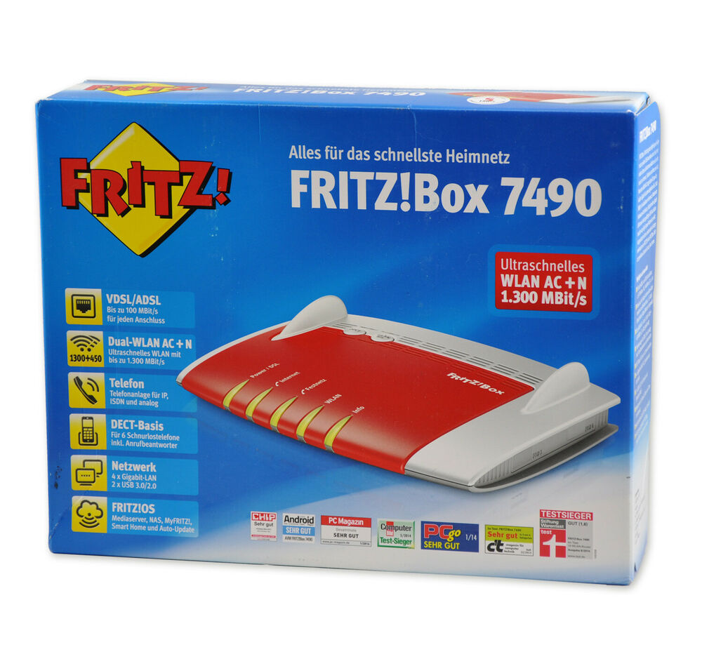 avm fritzbox 7490 1300 mbps wlan router fritz box vdsl adsl fritzbox 7490 ebay. Black Bedroom Furniture Sets. Home Design Ideas