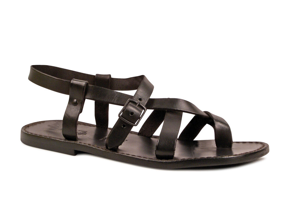 387c0ec9c9be Gladiator ankle strap strapped thong sandals for men in black real calf  leather