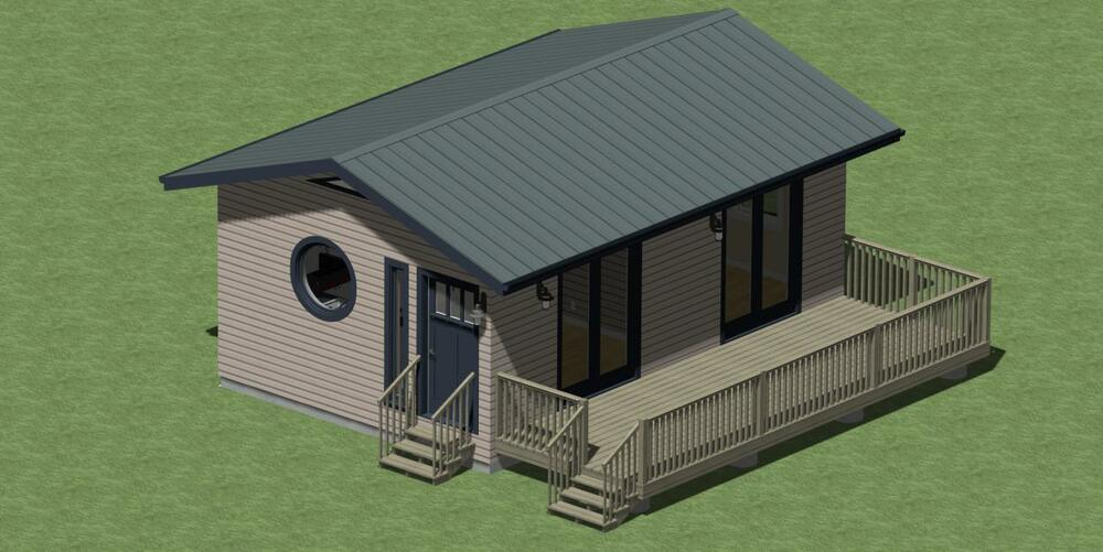 Small Cabin Plans 384 sq ft  with Outdoor Deck and Energy Saving Checklist  | eBay