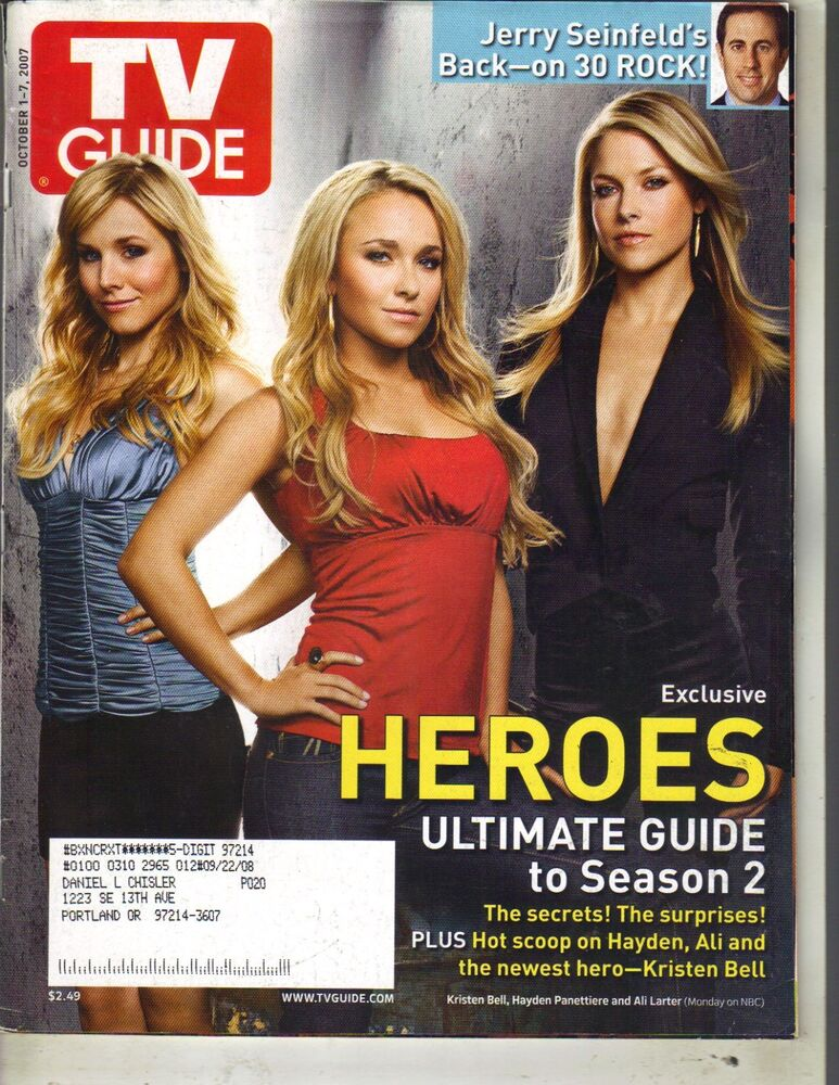 Details About KRISTEN BELL HAYDEN PANETTIERE ALI LARTER HEROES TV Guide Magazine 10 1 07
