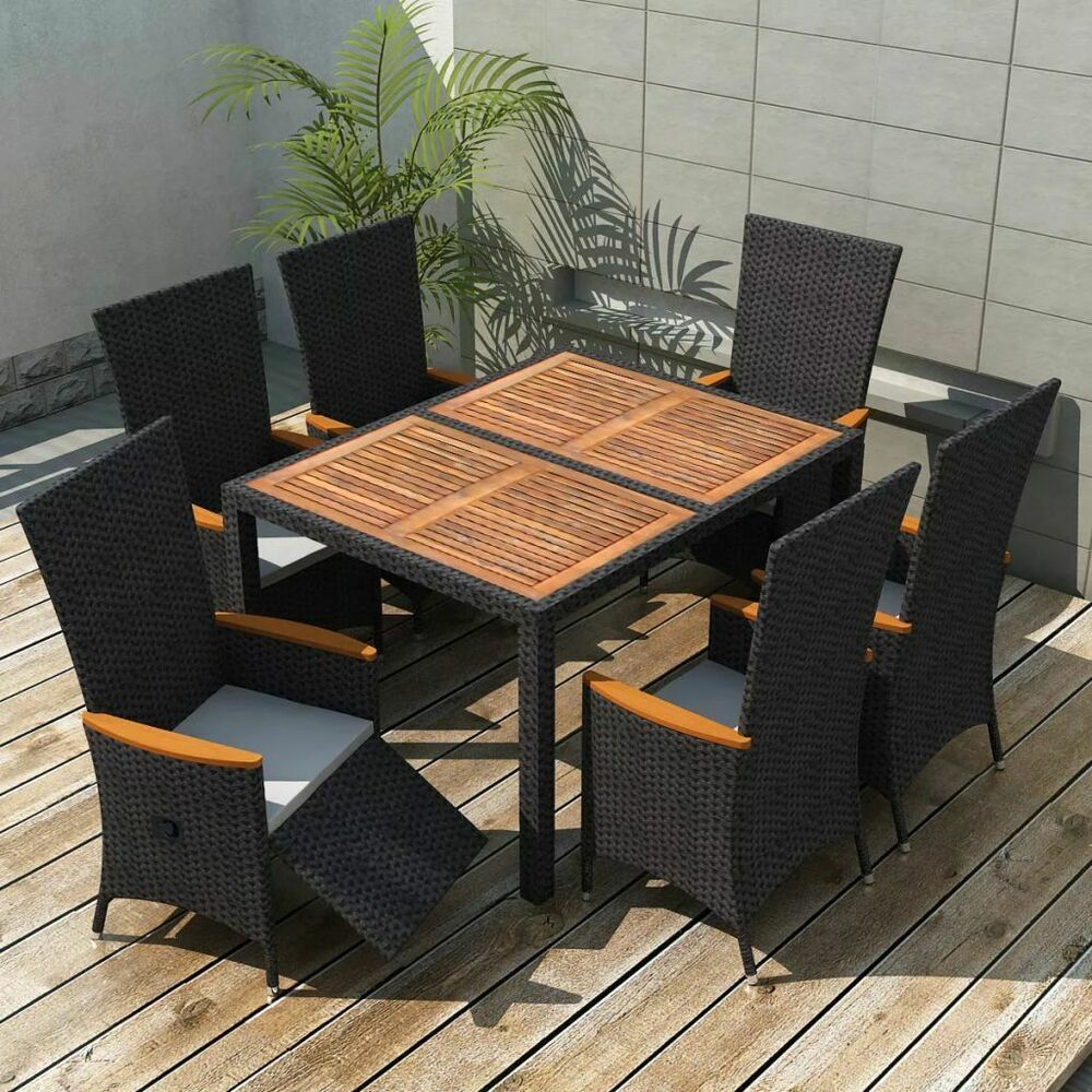 Details about vidaxl garden dining set 13 piece wicker rattan acacia xxl table chairs outdoor