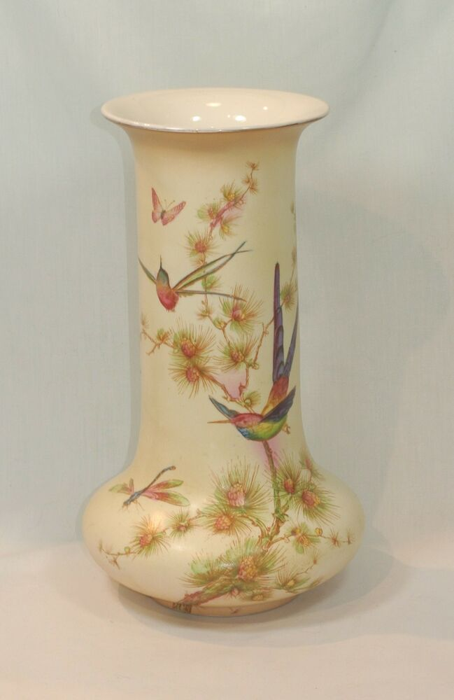 Vintage Crown Ducal Porcelain Vase Hummingbirds Butterflies 10 12