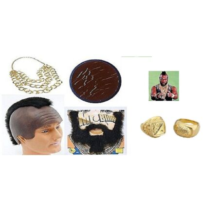 img-Mr T 80s TV Fancy Dress BA Baracus A Team Costume Outfit Medallion Accessory Set