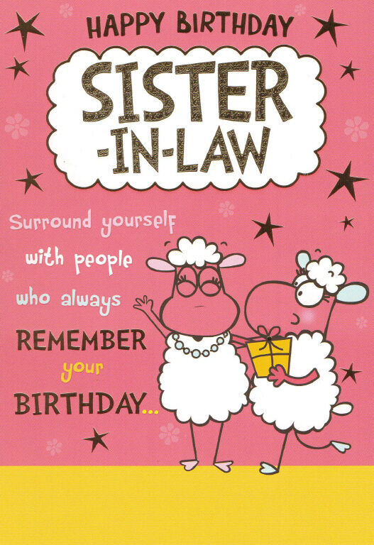 Funny Humorous Sister In Law Happy Birthday Card 2 X Cards To