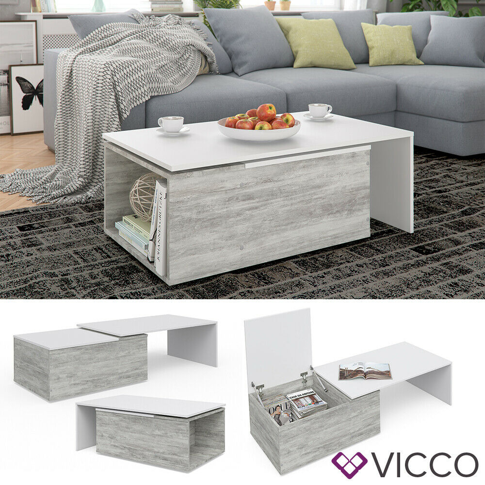 vicco couchtisch leo 60x100cm beton optik wei. Black Bedroom Furniture Sets. Home Design Ideas