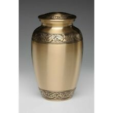 Beautiful Brushed Brass Cremation Urn for Ashes-Adult Human - 2872-A