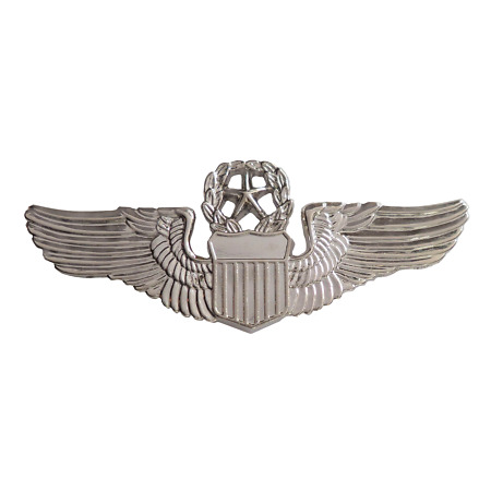 img-United States Air Force USAF Command Pilot Wings Nickel Pin Badge / Brevet