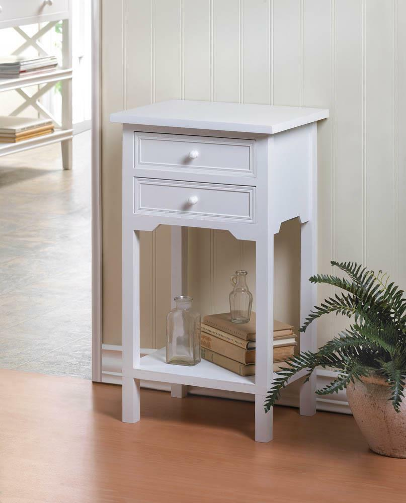 Modern White Side End Bedside Table Shabby Beadboard Night