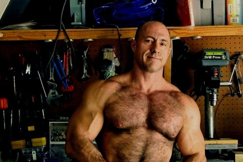 Shirtless Male Muscular Hairy Chest Older Dude Beefcake -3138
