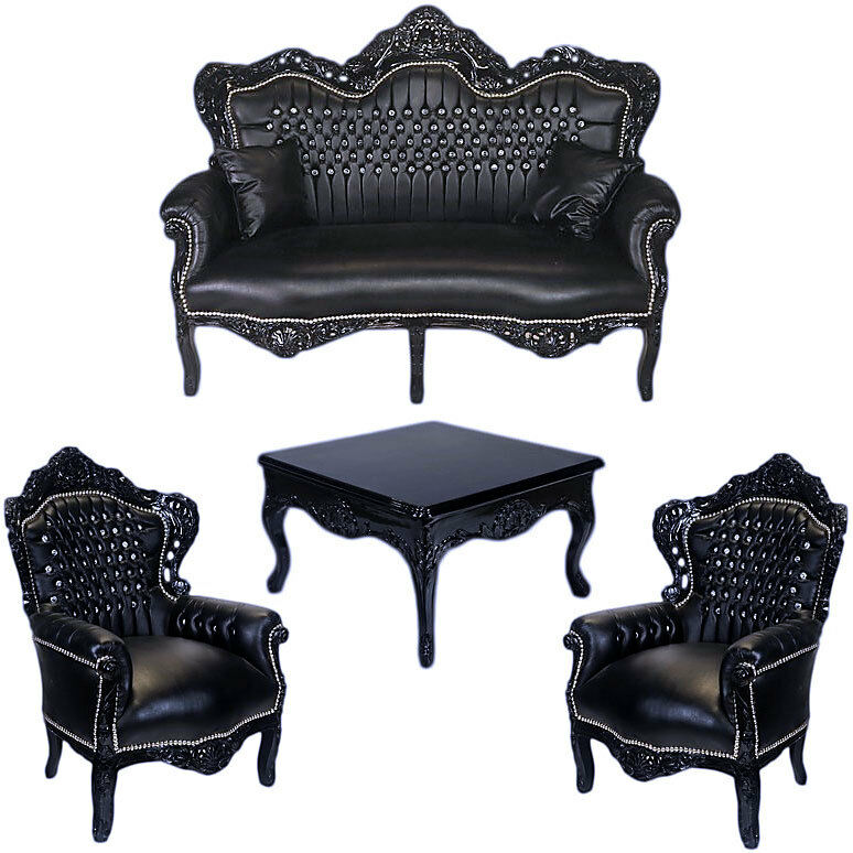 4 er sitzgarnitur 2x sessel sofa tisch barock sitzgruppe in schwarz strass ebay. Black Bedroom Furniture Sets. Home Design Ideas