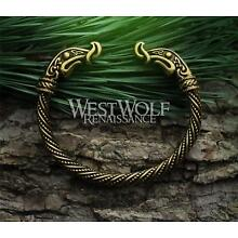 Viking Dragon Torc with Gold Finish -- Norse/Bracelet/Arm Ring/Bronze/Gold/Cuff