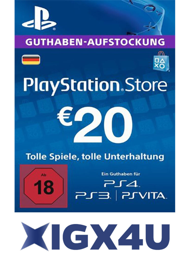playstation karte PSN Playstation Network Card Karte Key 20€ 20 EUR Prepaid Card