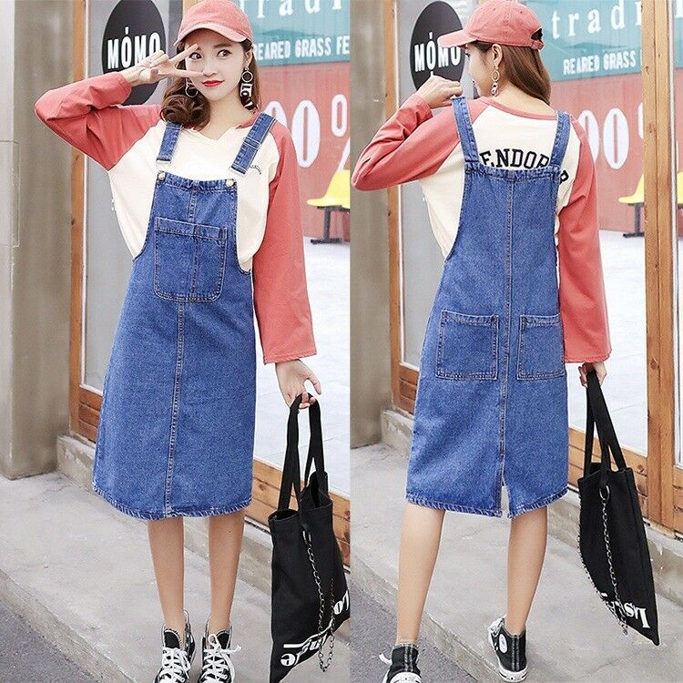 39ebd6ecc7dc Details about Fashion Womens Casual Denim Suspender Skirts Overalls Rompers  Jumper Jeans Dress