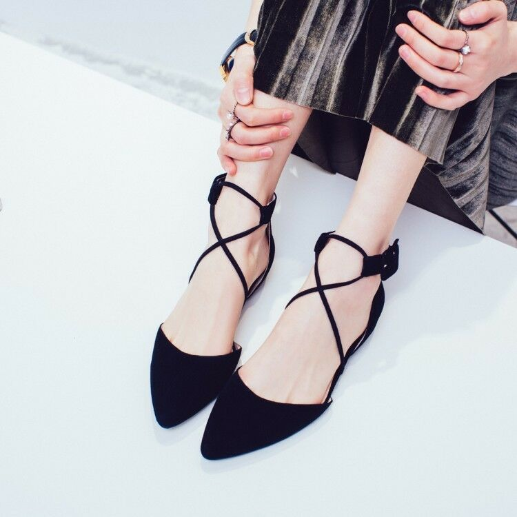6d5d1e7ac Details about Womens Pointed Toe Kid Faux Suede Lace Up Cross Strap Ballet  Casual Flats Shoes