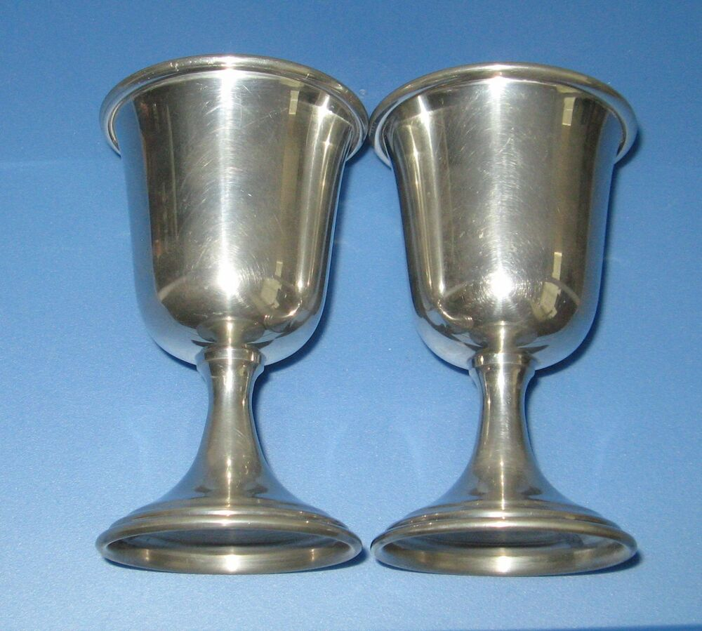 Vintage Kirk Stieff Glossy Pewter Wine Goblets Collectible Metal