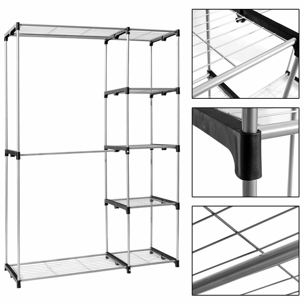 Details About Portable Closet Organizer Garment Shoe Rack Clothes Hanger Rod Storage Shelves
