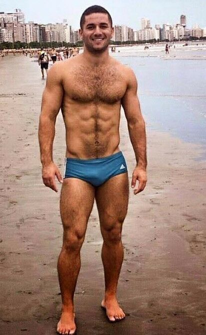Shirtless Male Hunk Hairy Chest Abs Bare Feet Speedo -4011
