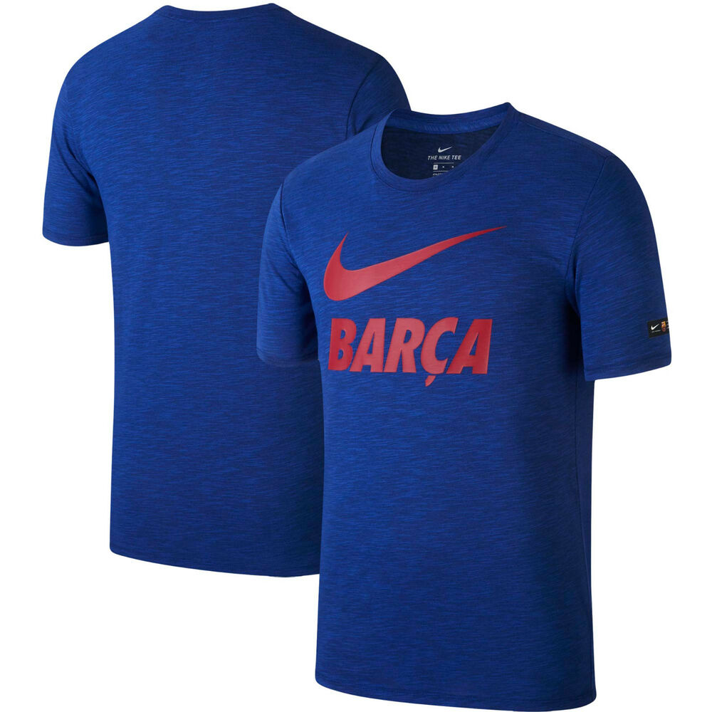 Details about Nike FC Barcelona 2018 - 2019 Soccer Swoosh NikeDry Shirt New  Heathered Blue 56913ce485e26