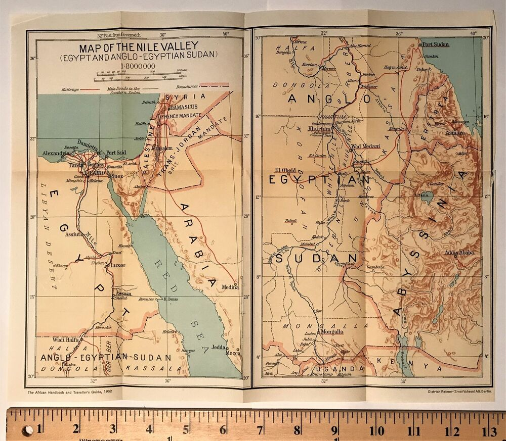 1932 ORIGINAL COLOR MAP Of NILE RIVER VALLEY Africa