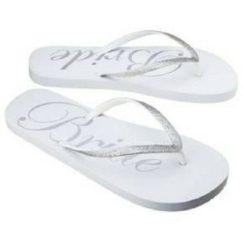 5c69eea427df Details about Gilligan   O Malley Bride Flip Flops Silver and White Size  5 6 NWT