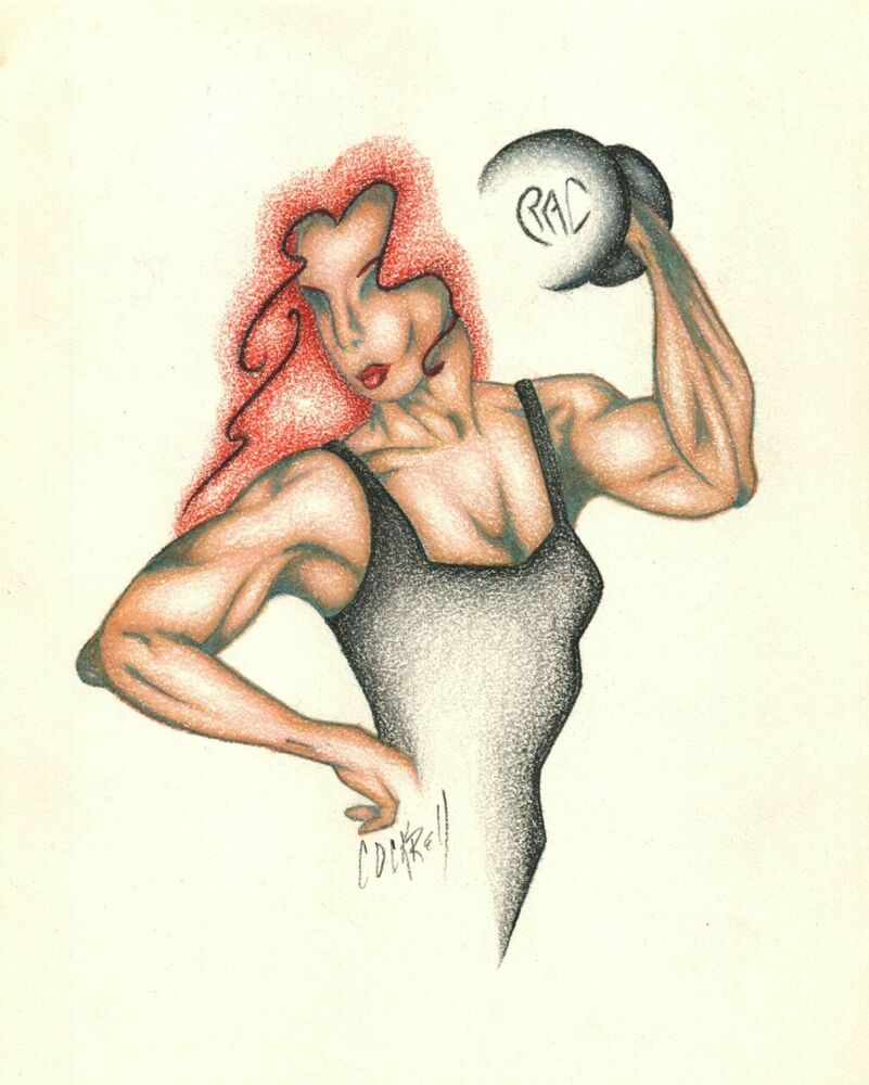 Details about female body builder woman bodybuilding pencil original illistration art drawing