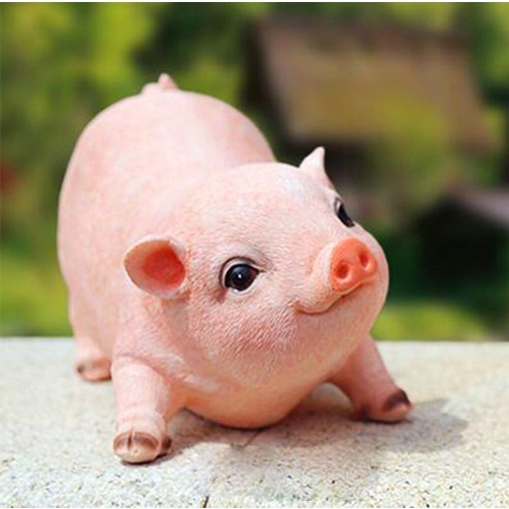 Country Farm Piglet Statue Adorable Baby Pig Garden ...