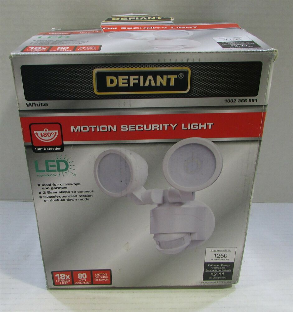 Defiant Outdoor Flood Light: Defiant 180 Degree White Motion Activated Outdoor Flood
