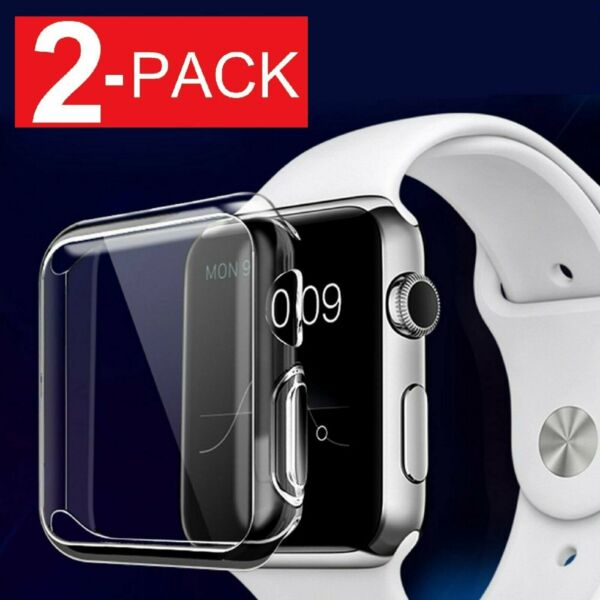 2-Pack Soft Ultra Thin Clear Protective Case Cover For Apple Watch Series 2 3 4