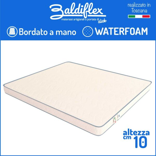 MATERASSO ORTOPEDICO H 10 CM WATERFOAM POLIURETANO BASIC BORDATO ANALLERGICO