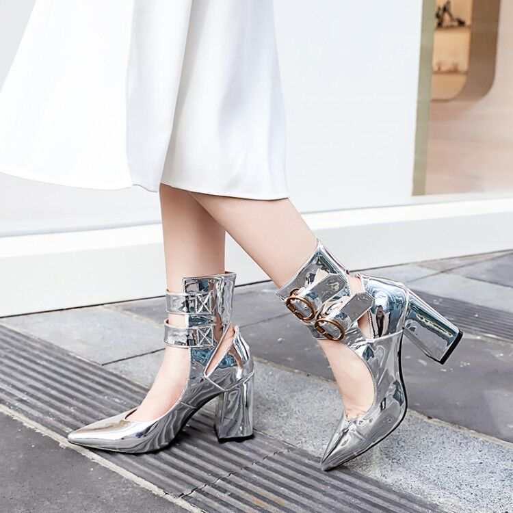 64cb88f897a Details about Trendy Womens Silver Pointy Toe Ankle Strap Block High Heels  Chic Metallic Shoes