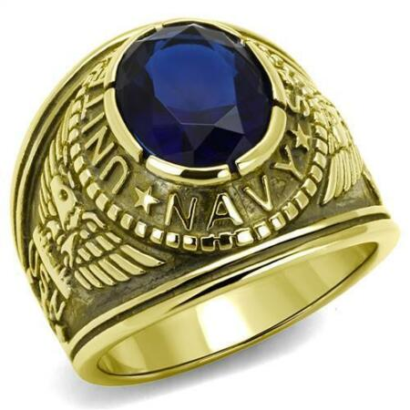 img-414707 USA NAVY SIMULATED DIAMOND MENS SIGNET GOLD STAINLESS STEEL RING SAPPHIRE