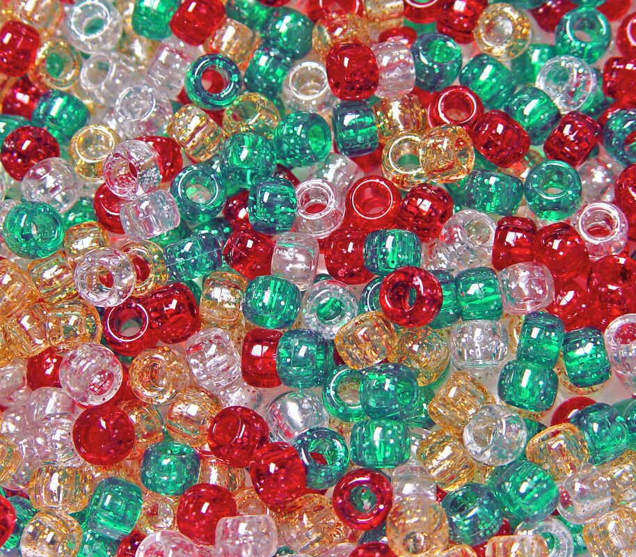 Christmas Glitter Mix 11mm Tri Beads 500pc beading crafts jewelry Made in USA