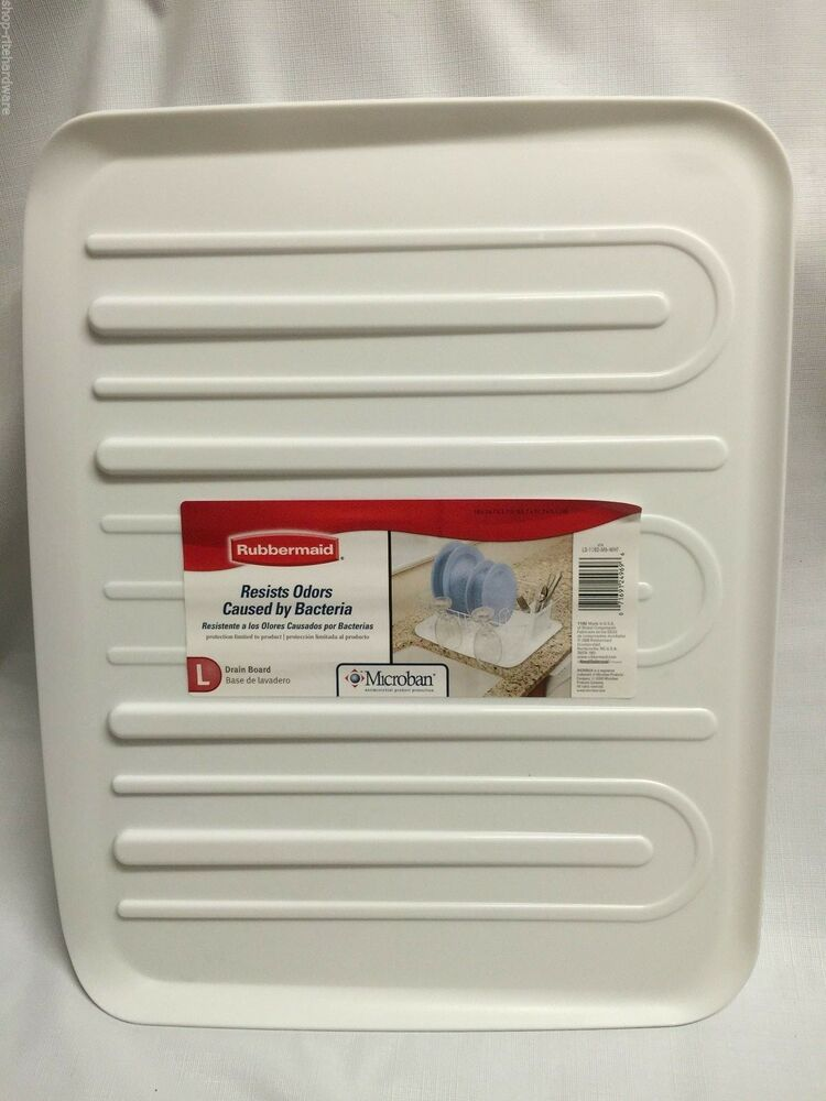 New Rubbermaid Large White Sloped Microban Dish Drainer