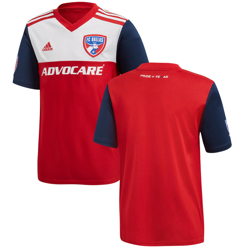 fed401a3a Details about adidas FC Dallas MLS 2018 Soccer Home Jersey New Red   Royal    White
