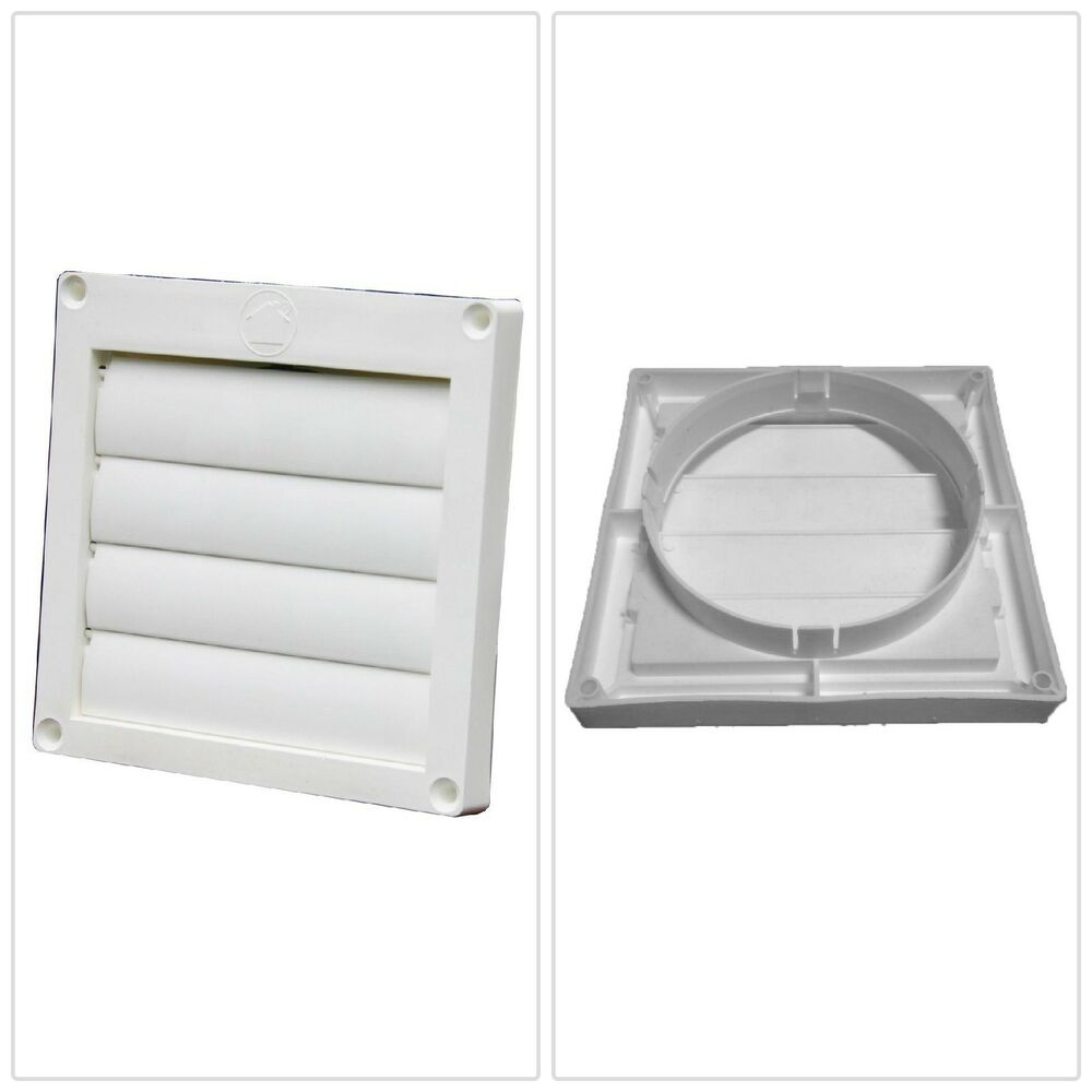 Exhaust Hood Snap Ring Louvered Wall Vent Dryer Bathroom Fan Vents Plastic 4 Quot Ebay
