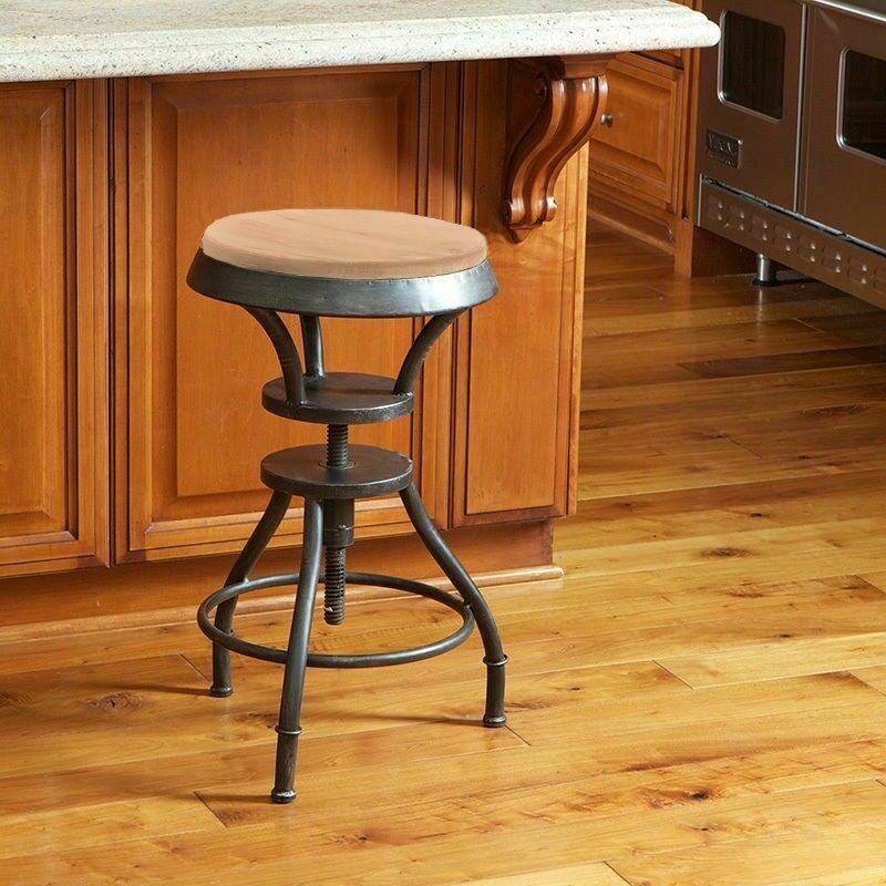 Industrial Wood Adjustable Seat Barstool High Chair: Industrial Metal Design Adjustable Height Swivel Bar Stool