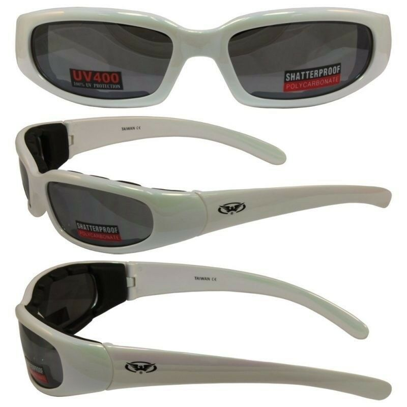 2ad72ba659f0 Details about WHITE Padded Motorcycle Sun Glasses-TRANSITION PHOTOCHROMIC  LENS or Flash Mirror