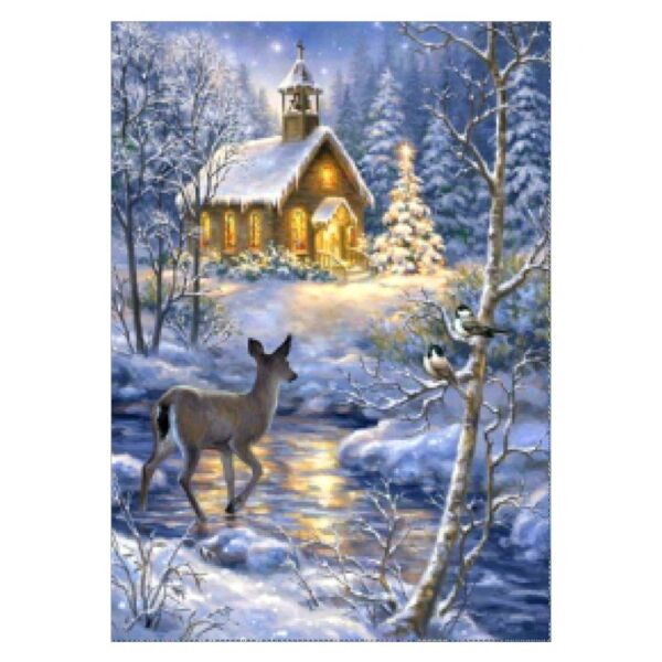 Xmas House Deer DIY 5D Full Diamond Embroidery Painting Cross Stitch Home Decor