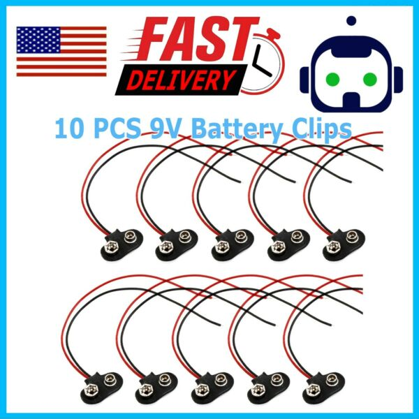 10x 9V 12cm Battery Connector T Type Clip Plug Wire Cord Leads 9 Volt